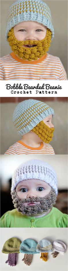 crocheted beards Just look at these cuteness. Bobble Bearded Beanie for your boys are most wonderful and greatest gift. Make it with your hands for every boy you love around you. Crochet For Kids, Free Crochet, Knit Crochet, Crochet Hats, Crochet Beard, Beard Beanie, Afghan Crochet Patterns, Hat Patterns, Crochet Projects