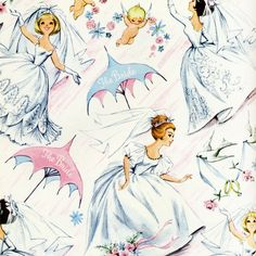 Vintage wedding / bridal shower wrapping paper