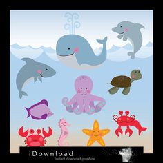 Nautical clip art digital SEA ANIMAL very cute sea by iDownload, €3.15