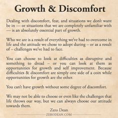 Excerpt from: Growth & Discomfort: Getting outside of your comfort zone