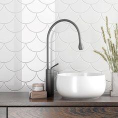 "Cozy Fan - 5.3"" x 6"" White - Matte Finish Fan Porcelain Wall Tile - $7.49 Per Square Foot Porcelain, Porcelain Wall Tile, Porcelain Tile, Home Remodeling, Wall Tiles, Diy Bathroom Decor, Round Mirror Bathroom, Porcelain Tiles Kitchen, Bathroom Decor"
