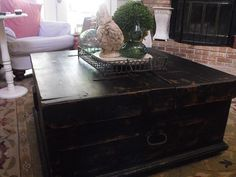 Rustic Pine Coffee Table Painted With Black Gesso Then Distressed And Waxed