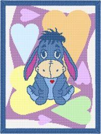 Baby Eeyore Love Ya' Afghan Blanket Graph Crochet Pattern