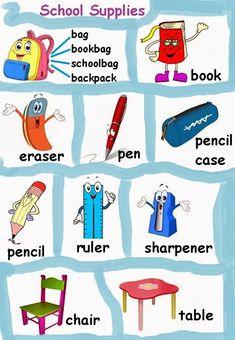 UTILES ESCOLARES EN INGLES-IMAGEN - Imagui English Class, Teaching English, English Exercises, Classroom Language, School Life, English Language, Teaching Kids, School Supplies, Animal Pictures