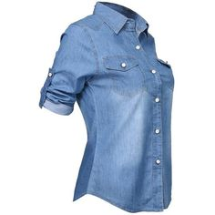 Women Long Sleeve Denim Blouse Office T Shirt Slim Tops (M(US6 Blue) (400 DOP) ❤ liked on Polyvore featuring tops, blouses, blue top, blue denim blouse, denim blouse, slimming tops and blue long sleeve top