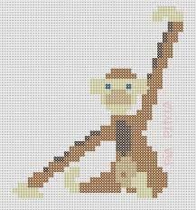 Monkey Kay Bojesen perler pattern by Pia Petrea Cross Stitching, Cross Stitch Embroidery, Cross Stitch Patterns, Hama Beads Patterns, Beading Patterns, Bead Crafts, Diy And Crafts, Hama Art, Monkey Pattern