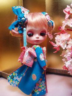 ブライス着物 恋月夜姫 正絹手毬柄 | 和ビスクドール 着物ビスク そして市松人形