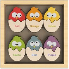 Color 'n Eggs - Chunky Color Learning Wooden Puzzle-Count your chickens and learn colors too! This great puzzle game combines the classic theme of chicken and eggs with the fun of puzzles and matching while teaching colors in both English and Spanish Preschool Puzzles, Puzzles For Kids, Color Puzzle, Teaching Colors, Eco Friendly Toys, Wooden Storage Boxes, Montessori Toys, Wooden Puzzles, Learning Toys