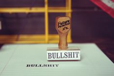 I couldn' help but think of how many uses I would get from this stamp...lol BULLSHIT // Rubber Stamp. $16.00, via Etsy.