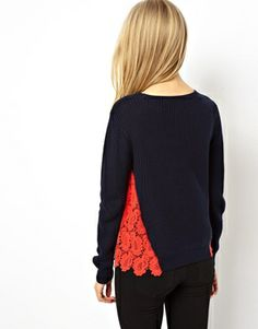 Image 2 of ASOS Jumper With Lace Side Panels