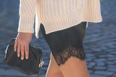 Look: Lace and Turtleneck Knit