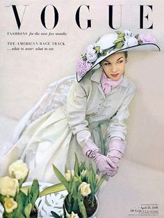 1948 Dorothy Griffith, cover photo by John Rawlings, Vogue. I love the lilac and powder blue!