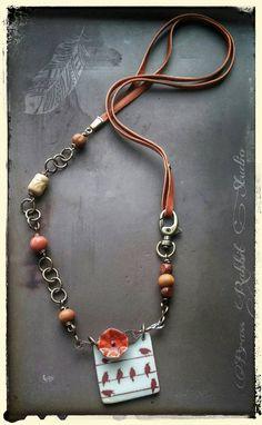 Mixed media necklace bohemian long ceramic by BrassRabbitStudio