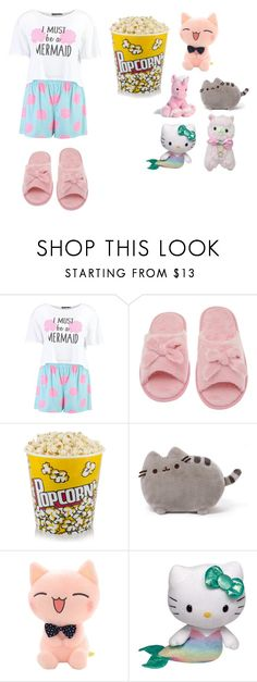 """Sleepover outfit"" by creative-weird-and-strong-potato ❤ liked on Polyvore featuring Boohoo, Deluxe Comfort, Pusheen and Hello Kitty"