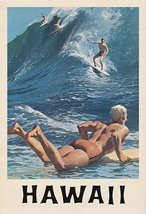 Rare Early 1960's Hawaii Surf Poster.  surfing, waves, Hawaii, island, vintage, ocean, Pacific, sport, blue