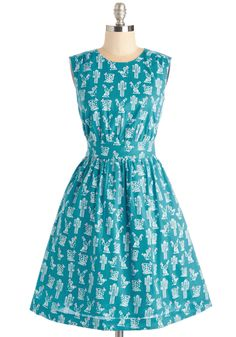 Too Much Fun Dress in Cacti. Theres no such thing as overloading on fun - but if it were possible, why not go all-out in this A-line dress? #blue #modcloth