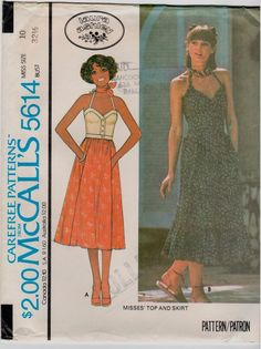 283dcc1e8467a Vintage 1970s uncut size 10 corset style halter top and skirt sewing pattern  Skirt Patterns Sewing