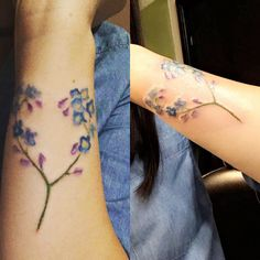 Water color forget me not flower tattoo