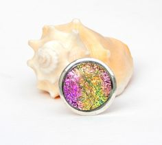 Large Pink and Gold Dichroic Glass Adjustable Cocktail Ring, Fused Glass Jewelry, Big Statement Ring by TremoughGlass on Etsy