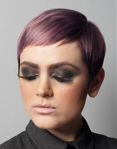 A short black straight coloured purple Shortfringe Womens hairstyle by Pierre Alexandre