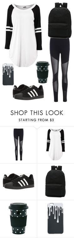 """black-n-white travel"" by xdesi-raex ❤ liked on Polyvore featuring adidas and Vans"