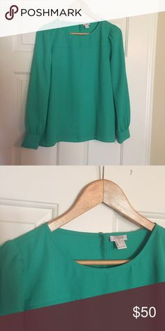New J. Crew Size Small Green Blouse New, no tags, never worn. Super cute, I just don't wear bright colors often. J. Crew Tops Blouses
