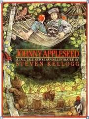 A Tall Tale by S. Kellogg Presents the life of John Chapman, better known as Johnny Appleseed, describing his love of nature, his kindness to animals, and his physical fortitude. September Pictures, John Chapman, Apple Picture, Apple Unit, Apple Activities, Johnny Appleseed, Tall Tales, Apple Seeds, This Is A Book