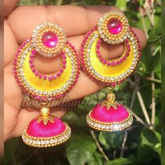 To order whatsapp me on 7277140539 Silk Thread Bangles Design, Silk Thread Earrings, Thread Jewellery, Jewellery Making, Beaded Necklace Patterns, Jewelry Patterns, Crochet Earrings, Pink Rose Pictures, Diy Jewelry