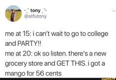 I& 16 and, honestly, cheap eggs excite me far more than a party ever could - xD - Funny Tweets, Funny Quotes, Funny Memes, Hilarious, College Humor, Funny Pins, Funny Stuff, Have A Laugh, Tumblr Funny