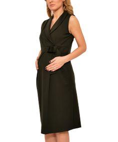 Green Pleated Maternity Shawl Collar Dress