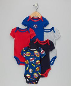 Take a look at this Royal Blue Superhero in Training Bodysuit Set - Infant by Vitamins Baby on #zulily today!
