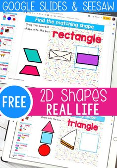Free kindergarten 2D shapes activity from Life Over C's for math centers. Use real life objects to match to shapes on these free Digital Google Slides and Seesaw activities. Perfect for math centers, homeschooling and distance learning. Shape Activities Kindergarten, Kindergarten Lessons, Classroom Activities, Learning Activities, Children Activities, Autistic Children, Music Classroom, Kindergarten Classroom, Classroom Ideas