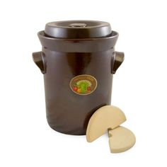 15 Liter Harvest Fermenting Crock Pot with Stone Weight (4 Gal.)
