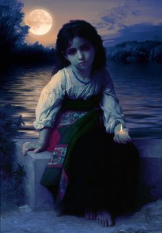 Petite Mendiant At Night, by William Bouguereau,  1825 - 1905