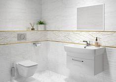 Светлый интерьер ванной комнаты и золотой бордюр. Бордюр для плитки способен освежить интерьер, подчеркнуть цвет плитки, мебели, добавить акценты. #декор#бордюрдляплитки#уютнаякомната#модерн#керамогранит#плитка#золото#трендыдизайна Calacatta, Double Vanity, Bathroom, Washroom, Full Bath, Bath, Bathrooms, Double Sink Vanity