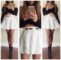 Sexy Women Two Pieces Wrap Front Off the Shoulder Long Sleeve 3D Rose Flower Elastic Waist Crop Top Mini Skirt Black