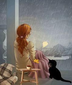Memories me rain thoughts girl illustration Art And Illustration, Cartoon Kunst, Cartoon Art, Fantasy Kunst, Fantasy Art, Gif Bonito, I Love Rain, Beautiful Gif, Beautiful Pictures