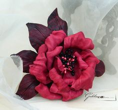 Leather red rose flower pin brooch hair hat clip.Corsage flower.. $47.00, via Etsy.