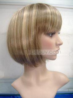 Peluca de cabello sintético mediano liso sin gorra (Envío Gratuito )