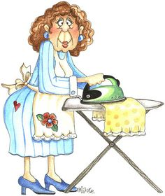 I hate ironing ~ by Laurie Furnell ~ Senior Moments Illustrations, Illustration Art, Red Brolly, Art Impressions Stamps, Cute Clipart, Digital Stamps, Old Women, Cute Art, Cartoon Characters