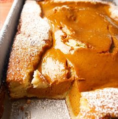 """The """"magic"""" is that you—get this—pour the cake batter into your prepared baking dish and then pour your pumpkin pie filling layer on top of that ... and then bake. NO stirring. The result is a pumpkin pie center with a cake crust; in other words, the most magical combination for a fall dessert."""