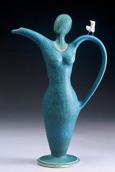 """""""Birdy for Tea""""  Created by Cathy Broski  stoneware clay  combination of wheel thrown and hand building"""