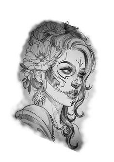 Tattoo Design Drawings, Small Tattoo Designs, Tattoo Sketches, Tattoo Designs Men, Art Sketches, Tattoo Girls, Skull Girl Tattoo, Sugar Skull Tattoos, Tattoo Crane