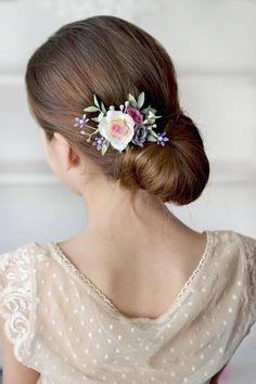 White purple flower hair clip Rose head piece clip Bridal floral accessory Bridesmaids  hair clips Wedding floral clip Flower hair piece ab785932bd8b