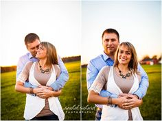 Ashley + Garrett's Morgan County Engagement Photos, farm, sunset