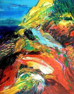 """""""La Montagne Sacrée"""": Huile sur papier 75x50cm - Gerard Stricher"""
