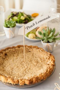 Again, flag labels, succulents, and pie. It seems like this theme works together Wedding Pie Table, Pi Day Wedding, Wedding Table Settings, Peach Lemonade, Theme Words, Spice Things Up, Succulents, Favors, Tables