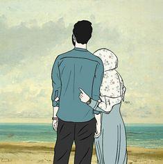 kumpulan kartun romantis parf 3 - my ely Cute Drawings Of Love, Cute Couple Drawings, Cute Couple Art, Love Cartoon Couple, Cute Love Cartoons, Cute Love Images, Cute Muslim Couples, Islamic Cartoon, Hijab Cartoon