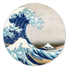 北斎 Great Wave Off Kanagawa Hokusai Fine Art Classic Round Sticker