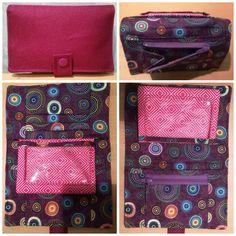 Portefeuille Compère rose et violet cousu par Valérie - Patron portefeuille Sacôtin